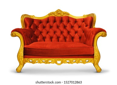 luxury classic thron red sofa velvet decorate with gold  with clipping path