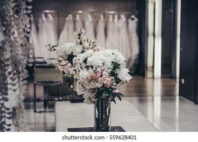 Luxury clothing shop with wedding dresses