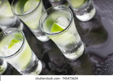 Luxury cocktail with tequila and lime closeup