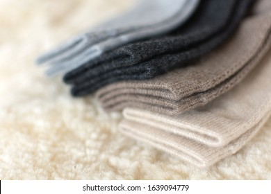 Luxury comfortable cashmere bed socks. Four pairs of luxury cashmere wool socks in shop. Wool made from cashmere goats made in Mongolia is the best quality and also very expensive wool.