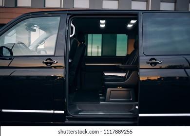 Luxury and comfortable van with open door