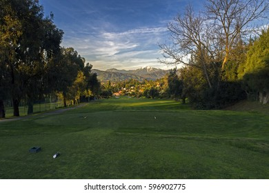 Luxury Country Club Golf Course San Gabriel Valley with Mount Baldy in Background
