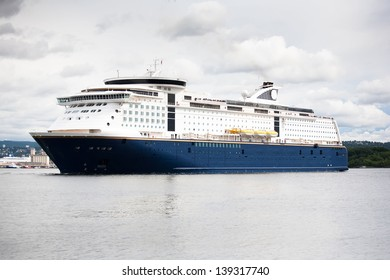 Luxury Cruise Ship Anchored in the Norway Oslo