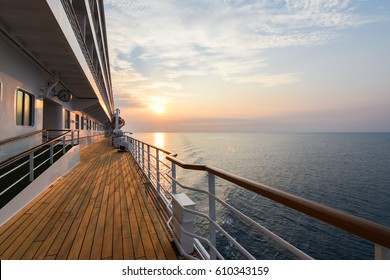 Luxury Cruise Ship Deck at Sunset.