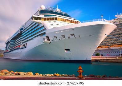 Luxury cruise ship docked in the port of Saint Thomas, US Virgin island.