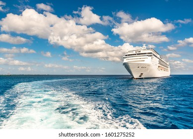 luxury cruise ship on the sea in the caribbean