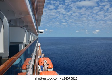 Luxury cruise ship sails to Caribbean. Balcony sea view