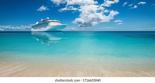 Luxury cruise ship at sea.