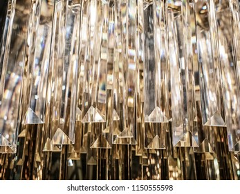 Luxury Crystal Chandelier. Close up on the crystal of a contemporary crystal decoration.