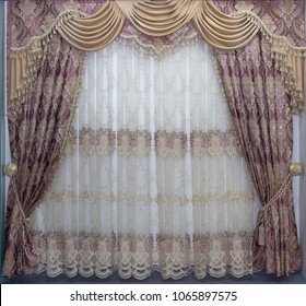 Luxury curtains in a classic style. Interier
