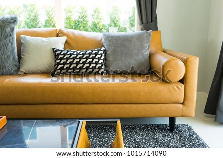 Luxury Cushion On Brown Leather Sofa Stock Photo Edit Now