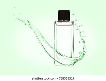 Luxury cyan green liquid perfume bottle with splashes on blue background