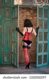 fb54b0a27fb luxury dancer model in red corset with black lace