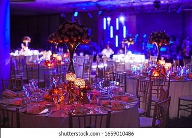Luxury decorated with flowers  celebration hall in palace with candles