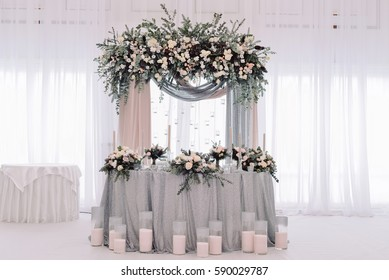 Luxury decorated marriage newlywed table