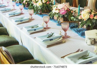 Luxury decorated table for wedding