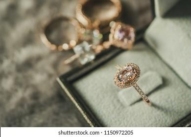 luxury diamond ring in jewelry box vintage style