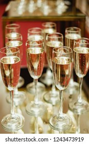 Luxury drink background. Glasses with prosecco
