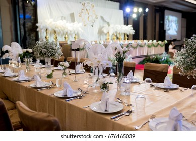 Luxury Elegant table setting in wedding,decoration in a ceremony