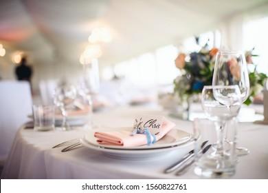 Luxury, elegant wedding reception table arrangement