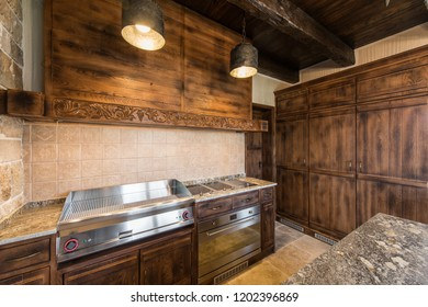 Luxury equipped wooden kitchen interior
