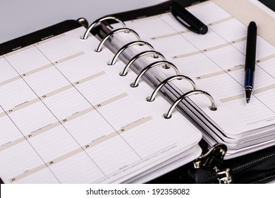luxury executive leather personal organizer or planner on white background