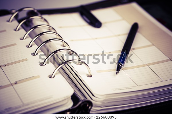 Luxus-Executive Leder, persönlicher Organisator oder Planer auf weißem Hintergrund