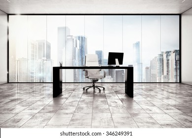 Luxury executive office with city view window