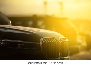 luxury exotic car front view in sunny day light bmw 7 2020
