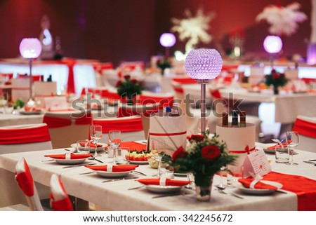 Luxury Expensive Catering Wedding Reception Decorations Stock Photo