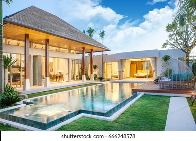 luxury exterior design pool villa with interior design living room  home, house ,sunbed