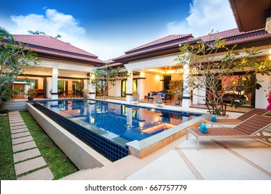 luxury exterior design pool villa with interior design living room  home, house ,building
