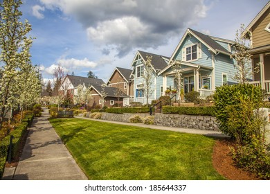 luxury family house with landscaping on the front and blue sky on background and green grass on front