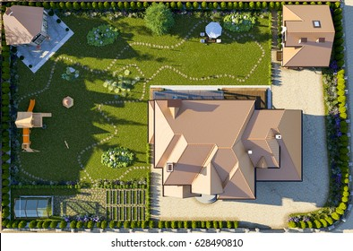 Luxury family house with landscaping on the backyard, double garage, sauna, barbecue gazebo, large green lawn, playground for children. Top view. 3d rendering