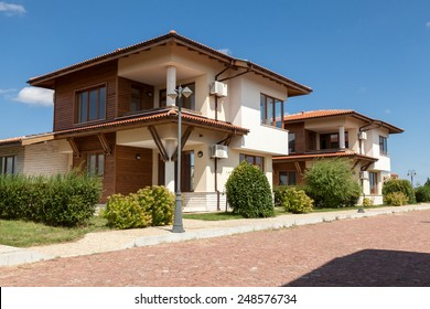 luxury family houses and blue sky on background