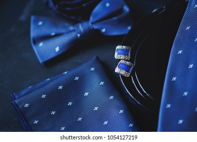 luxury fashion men's cufflinks. accessories for tuxedo, butterfly, tie, handkerchief. Italian fashion.