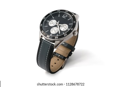 Luxury fashion watches with black dial and dark gray stitched leather, Vintage style wrist for Men's isolated on white background. Selective focus.
