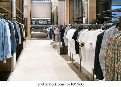 luxury and fashionable brand new interior of cloth store. shopping mall interior.