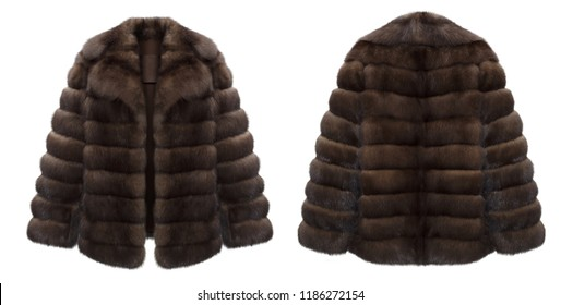 Luxury fashionable set of natural fur, fur coat, sable, brown, clipping, ghost mannequin isolated on white background, front view and back