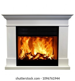 Luxury fireplace isolated on white background.