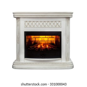 Luxury fireplace isolated on white background