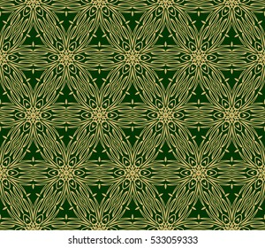 Luxury floral ornament. seamless pattern. green and gold color. raster copy illustration.