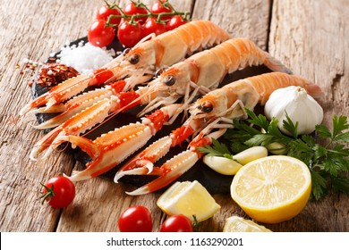 Luxury fresh raw langoustine, scampi with ingredients close-up on a wooden table. Horizontal