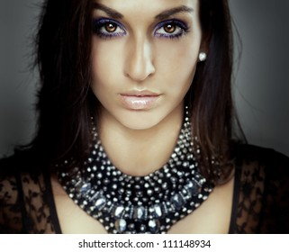 luxury girl portrait, lust eyes, nice jewel