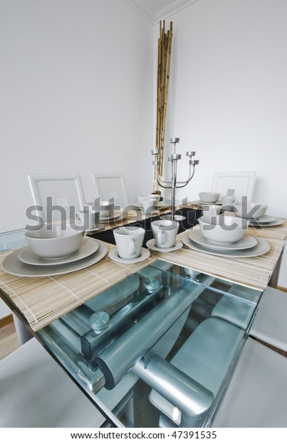 Cool Luxury Glass Top Dining Table White Stock Photo Edit Now Pdpeps Interior Chair Design Pdpepsorg
