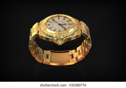 Luxury gold Watch 3d rendering isolated