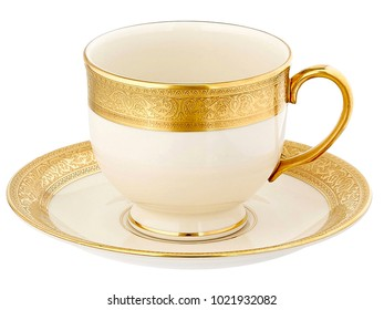 Luxury Golden Coffee Cup On White Background,Plate And Mug,Golden Teacup