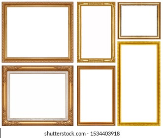 Luxury golden glitter picture frame isolated on a white background