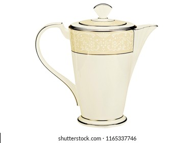 luxury golden teapot, antique ivory kettle on white background
