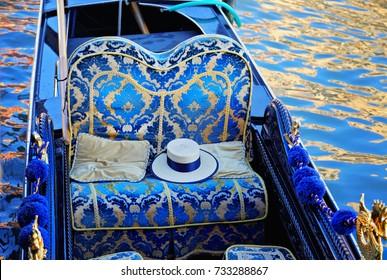 Luxury Gondola waiting for tourists near Rialto Bridge in Venice